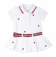 Florence Eiseman Toddler Girls White Pique Knit Polo Dress - Embroidered Ladybugs