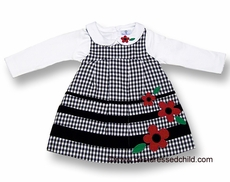 Florence Eisemen Girls Black / White Check Jumper Dress with Red Flowers and Blouse