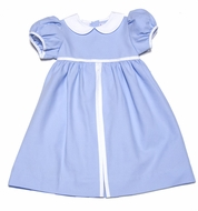 Frances Johnston Girls Blue Pique Easter Dress with White Collar