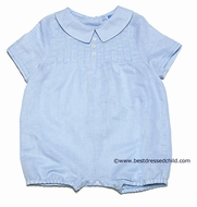 Frankie by Luli and Me Infant Baby Boys Blue Portrait Outfit with Tucks and Buttons