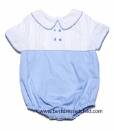 Frankie by Luli & Me Baby Boys White / Blue Pique Bubble
