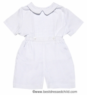 Frankie by Luli & Me Infant Baby Boys Dressy Button On Outfit - WHITE