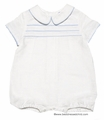 Frankie by Luli & Me Infant Baby Boys Dressy Linen Blend Outfit - IVORY with Light Blue Trim