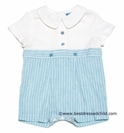 Frankie by Luli & Me Infant Boys Off White / Turquoise Stripes Linen Blend Outfit