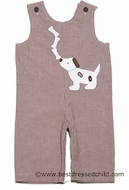 Funtasia Baby / Toddler Boys Brown Gingham Dog with Bones Longall