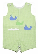 Funtasia Baby / Toddler Boys Lime Green Check Shortall with Blue Whales