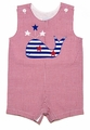Funtasia Baby / Toddler Boys Red Gingham Patriotic Whale Shortall