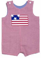 Funtasia Baby / Toddler Boys Reversible Shortall - Red with Flag / Blue with Lawn Mower