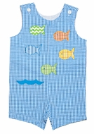 Funtasia Baby / Toddler Boys Turquoise Check Seersucker Shortall - Colorful Fish