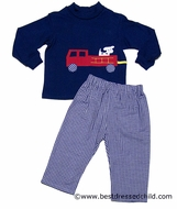 Funtasia Boys Blue Check Pants with Red Fire Truck on Blue Shirt