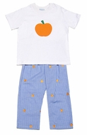 Funtasia Boys Blue / Orange Embroidery Pumpkins Pants with Pumpkin Shirt