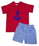 Funtasia Boys Blue Shorts with Red Anchor Shirt