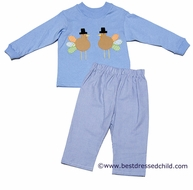 Funtasia Boys Blue Thanksgiving Turkeys Pants Set