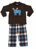 Funtasia Boys Brown / Blue Plaid Flannel Pants with Blue Moose on Brown Shirt