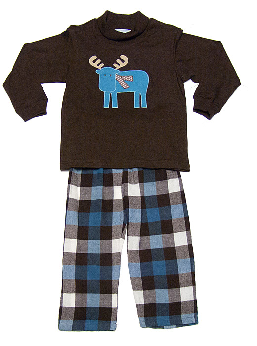 Funtasia Boys Brown Blue Plaid Flannel Pants With Blue