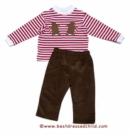 Funtasia Boys Brown Corduroy Pants with Red Striped Gingerbread Man Shirt