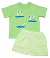 Funtasia Boys Green Check Shorts with Chevron Frogs Shirt