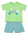 Funtasia Boys Blue / Green Stripe Shorts with Green Farm Animals on Truck Shirt
