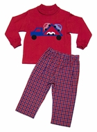 Funtasia Boys Red / Blue Plaid Pants with Car Carrier Truck on Red Shirt
