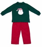 Funtasia Boys Red Corduroy Pants with Santa Claus Face on Green Shirt