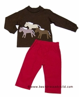 Funtasia Boys Red Corduroy Pants with Trio of Horses on Brown Shirt
