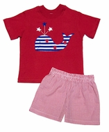 Funtasia Boys Red Gingham Shorts with Patriotic Whale on Red Shirt