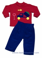 Funtasia Boys Royal Blue Corduroy Pants with Dump Truck on Red Shirt