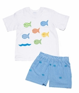 Funtasia Boys Turquoise Embroidered Fish Shorts with Many Colorful Fish on White Shirt