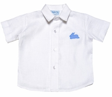Funtasia Boys White Linen Blend Shirt with Blue Easter Bunny