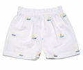 Funtasia Boys White Seersucker Shorts with Sailboat Embroidery