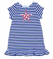 Funtasia Girls Blue / White Striped Knit Dress - Patriotic Red Star