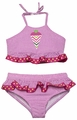 Funtasia Girls Hot Pink Gingham Chevron Ice Cream Cone Bathing Suit - Two Piece