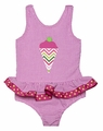 Funtasia Girls Hot Pink Gingham Chevron Ice Cream Cone Swimsuit - One Piece