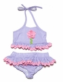 Funtasia Girls Lavender Striped Pink Flower Bathing Suit - Two Piece