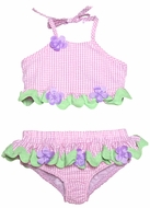 Funtasia Girls Pink Check Swimsuit with Lavender Flowers - Two Piece