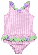 Funtasia Girls Pink Checks Swimsuit with Lavender Flowers - Ruffle One Piece