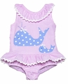 Funtasia Girls Pink Ruffle Swimsuit with Blue Whales - One Piece