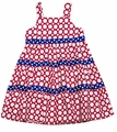 Funtasia Girls Red Polka Dots / Stars Patriotic Tiered Dress