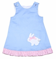 Funtasia Girls Reversible Jumper Dress - Blue with Easter Bunny / White with Sailboats
