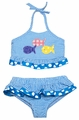 Funtasia Girls Turquoise Check Seersucker Colorful Fish Ruffle Swimsuit - Two Piece