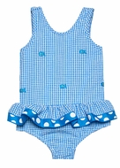 Funtasia Girls Turquoise Check Seersucker / Embroidered Fish Ruffle One Piece Bathing Suit