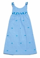 Funtasia Girls Turquoise Check Seersucker / Embroidery Fish Sun Dress