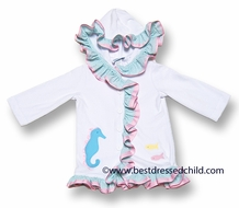 Funtasia Girls White Cover Up / Turquoise Seahorse with Ruffles and Hood