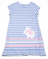 Funtasia Girls White Easter Bunny on Blue Striped Knit Dress