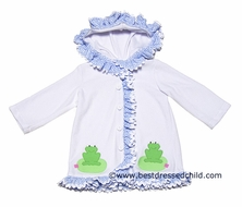 Funtasia Girls White Terry Cover Up with Blue Ruffles & Hood - Green Frogs
