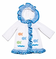 Funtasia Girls White Terry Cover Up with Hood - Colorful Fish & Blue Ruffle Trim