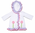 Funtasia Girls White Terry Hooded Cover Up - Lavender Ruffle & Pink Flowers
