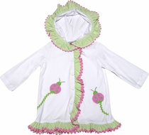 Funtasia Girls White Terry Hooded Cover Up - Ruffles and Pink Ladybugs