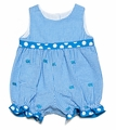 Funtasia Infant Girls Turquoise Check Seersucker / Embroidered Fish Bubble