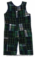 Funtasia Infant / Toddler Boys Preppy Green Patchwork Plaid Flannel Longall